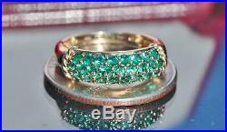 10k yellow gold 1.50ct emerald band ring size 6 vintage handmade 2.3gr N2628E