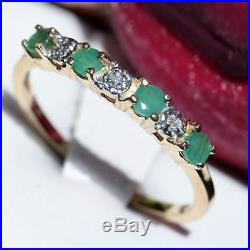10k yellow gold ring 0.38ct emerald & diamond size 10 band vintage 1.5gr