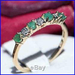 10k yellow gold ring 0.38ct emerald & diamond size 8.25 band vintage 1.5gr