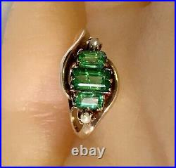 12k Solid Yellow Gold Antique 3 Emerald And 2 Seed Pearl Cocktail Ring Size 4.5