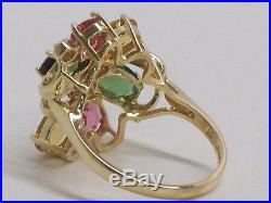 14KT Fine Yellow Gold Cluster Ring With Gemstones And Accent Diamonds Size 6