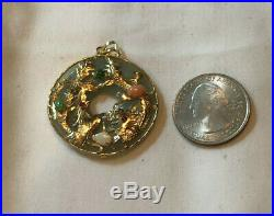 14KT YELLOW GOLD JADE CORAL, OPAL, RUBY, and EMERALD ROUND PENDANT DRAGON THEME