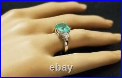 14K WHITE GOLD ENGAGEMENT RING 2.74CT. NATURAL MINT GREEN EMERALD cushion cut