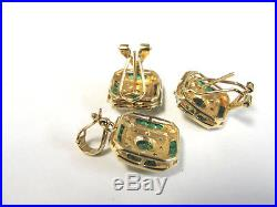 14K Yellow and White Gold Emerald and Diamond Earring & Pendant Set 16 Fine Chn