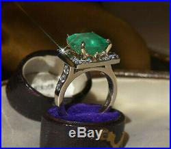 14k Emerald Diamond Natural Colombian Ring Cocktail Vs Fine Vintage 6.95 Carats