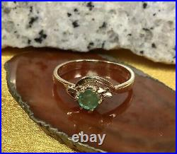 14k Solid Yellow Gold Round Cut Emerald Ring SZ-6 Fine Jewelry