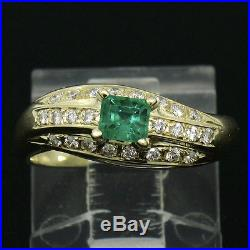 14k Yellow Gold 0.52ctw FINE Emerald & Pave Round Diamond Twisted Wave Band Ring