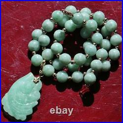14k gold Chinese green jade charm 8mm bead gold ball 17.0 dangle necklace 43.7g