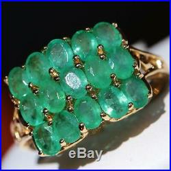 14k yellow gold 2.70ct Colombian emerald 3 row band elephant ring 3.9gr size 7