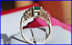 14k yellow gold ring 2.02ct Colombian emerald diamond size 6.5 vintage 3.7gr
