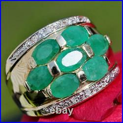 14k yellow gold ring 4.30ct Colombian emerald diamond size 7 band handmade 5.8gr