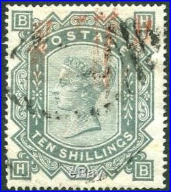 1867-83 10/- Green Sg 128 good colour GOOD USED to FINE USED V81050