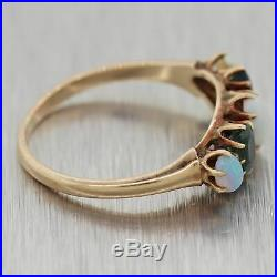1880's Antique Victorian Synthetic Emerald & Opal Band Ring