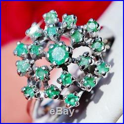 1890's Antique Italian 14k white gold 1.00ct Colombian emerald sz 6.5 ring 4.7gr