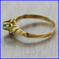 1890's Antique Victorian 14k Yellow Gold 0.10ct Emerald Band Ring
