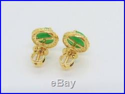 18K Solid Yellow Gold Natural Apple Green Jadeite Jade White Topaz Halo Earrings