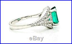 18K White Gold Natural Emerald Ring With Diamonds Sz 6.25 Fine Estate Jewelry