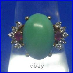 18K Yellow Gold Green Turquoise Ruby and Diamond Ring Size 8.25