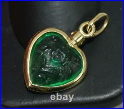 18 Carat Yellow Gold and Vivid Green Glass Floral Heart Pendant or Charm