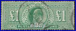 1902 KEVII SG266 £1 Dull Blue-Green Very Fine Used CV £825