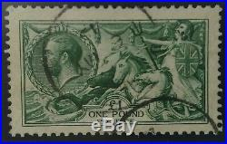 1913 £1 Green'SeaHorses' SG403. Very Fine Used W110. Well Centred/2 Neat Cancels