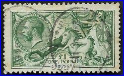 1913 KGV SG403 £1 Deep Green Waterlow Very Fine Used CV £2,000