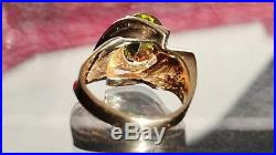 1930's 10k yellow gold 5.8g swirl ring 3.30c peridot solitaire size 7.25 antique