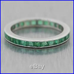 1930's Antique Art Deco 18k White Gold 1.25ctw Natural Green Emerald Band Ring