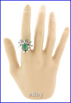 1930s Antique Art Deco 14k White Gold 1.75ctw Emerald Diamond Cocktail Ring S8