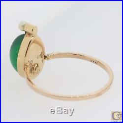 1930s Antique Art Deco 14k Yellow Gold Cabochon Green Agate Seed Pearl Ring A8