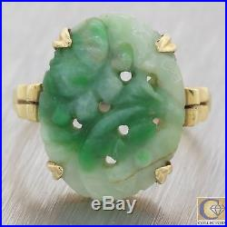 1930s Antique Art Deco 14k Yellow Gold Floral Carved Jade Oval Cocktail Ring F8