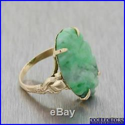 1930s Antique Art Deco Estate 10k Yellow Gold 22mm x 15mm Carved Jade Ring E8