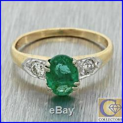 1930s Antique Art Deco Estate 14k Yellow Gold Emerald Diamond Engagement Ring