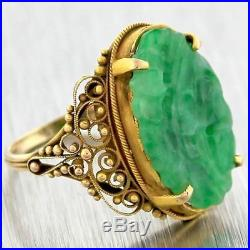 1930s Antique Art Deco Solid 14k Yellow Gold Jade Jadeite Carved Ring