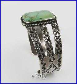 1960s 70s fine green turquoise sterling silver Native American cuff bracelet