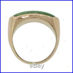 1960s Vintage Estate 18k Solid Yellow Gold Green Jade Band Ring