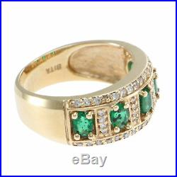 1.37CTW Oval Emerald Diamond Band Ring 14k Yellow Gold 3Row Wide Vintage Estate