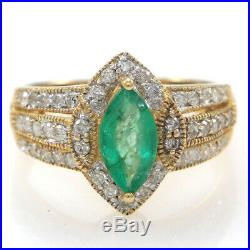 1.45ctw Marquise Natural Emerald Diamond Halo Cocktail 14k Yellow Gold Ring