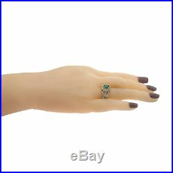 1.60CTW Oval Emerald Diamond Halo Cocktail Ring 14k Yellow Gold Vintage Estate