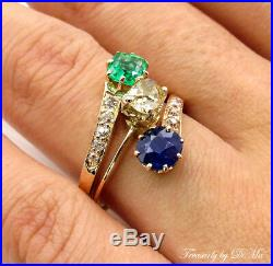 2.09ct Antique Victorian Old Cushion Diamond Sapphire Green Emerald Bypass Ring