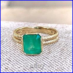 2.40ct Vintage 100% Natural Colombian Emerald Solitaire Ring 14K Yellow Gold