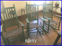 3 vintage matching early Wood Rocking Chair Porch Rocker RARE to fine 3