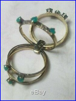 4.41 Grams 14K Gold Ultra Rare (1960's) 5 Band Harem Ring with9 Natural Emeralds