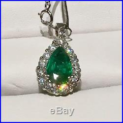4 Cts Emerald And Old Mine Diamond Necklace