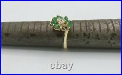 50CT Natural Emerald and Diamond Accent Anniversary 14KT Yellow Gold Fine Ring