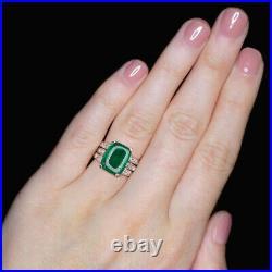 5 Carat Colombian Rich Green Emerald Diamond Vintage Cocktail Ring Long Cut Deco