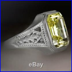 5ct Yellow Green Sapphire Vintage Cocktail Ring Emerald Cut Bezel Estate Antique