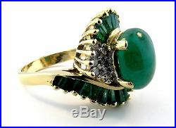 6.30 Ctw Natural Green Emerald & Diamond Bypass Ring 14 Kt Gold, Oval Cabochon