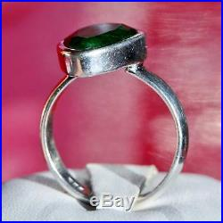 925 Sterling silver 4.40ct Colombian emerald solitaire size 9 ring handmade 5.8g