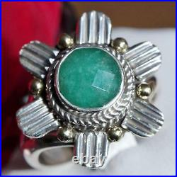 925 multi tone sterling silver 2.00ct Colombian emerald sz 6.5 ring vintage 5.6g